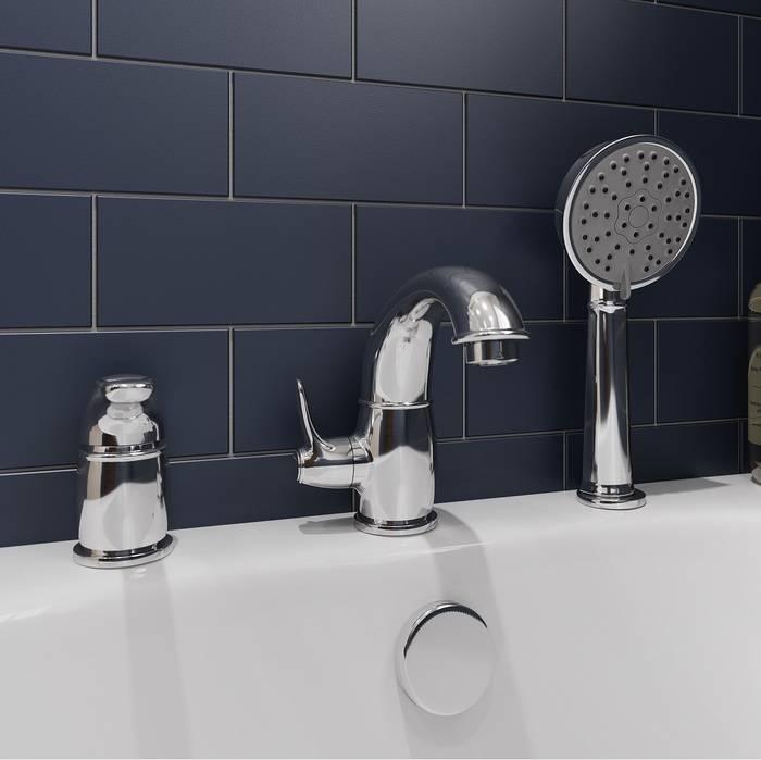 Фото Смеситель на борт ванны на 3 отверстия с керамическим дивертором, IDDIS Oldie OLDSB30i07, хром 1