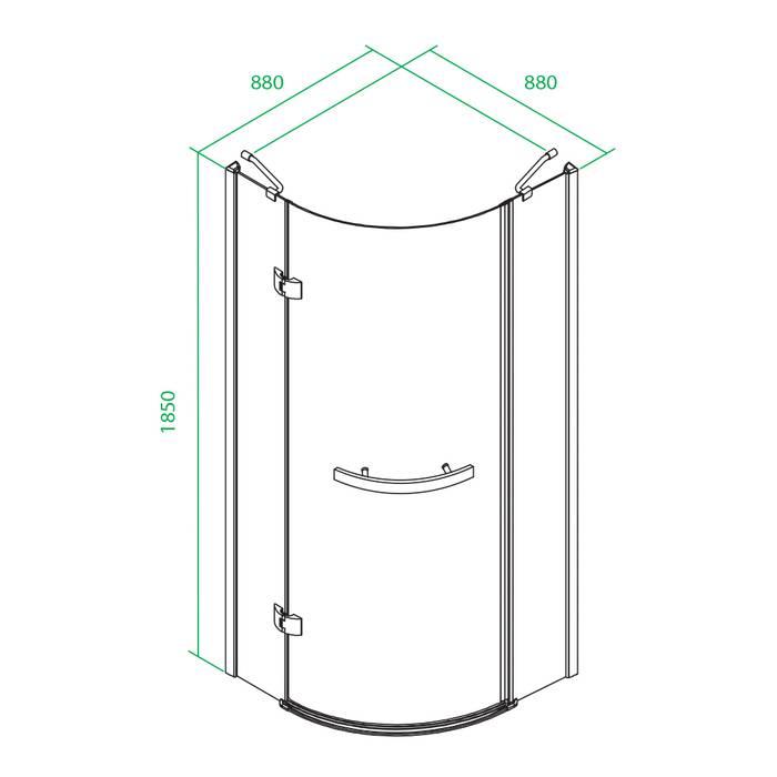 Фото Дверки душевые полукруглые глянцевый стекло прозрачное, поддон низкий, 90x90x185 см, IDDIS Vane V20R099i23, хром 2