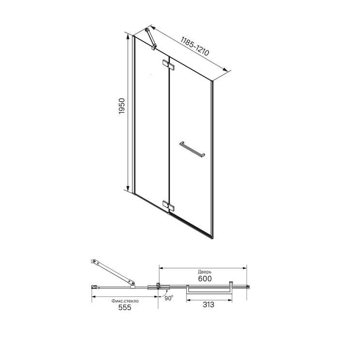 Фото Душевая дверь распашная, алюминиевый профиль 120х195, IDDIS Slide SLI6BH2i69, черный 5