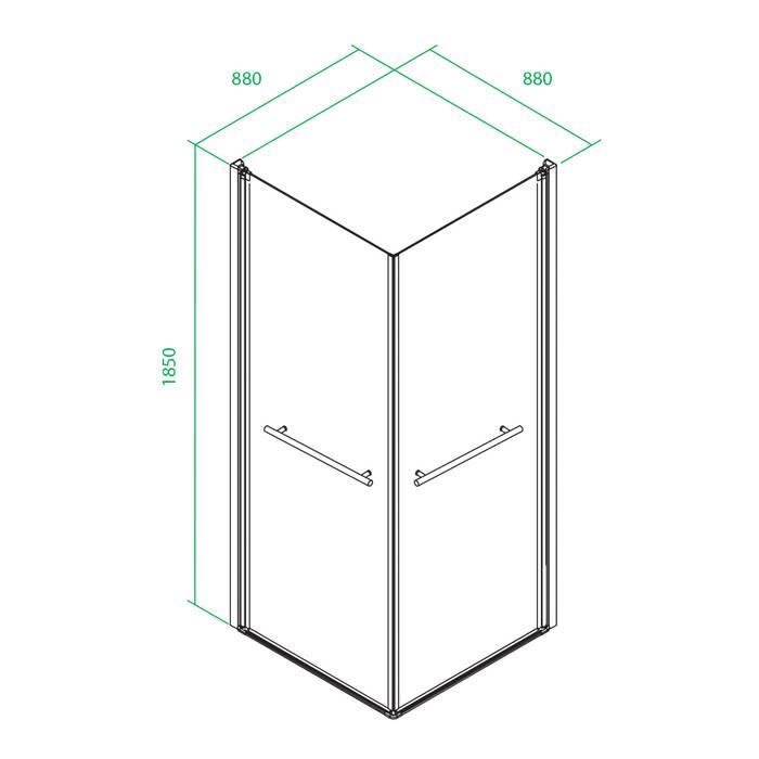 Фото Дверки душевые квадратные глянцевый стекло прозрачное, поддон низкий, 90x90x185 см, IDDIS Elansa E10S099i23, хром 2