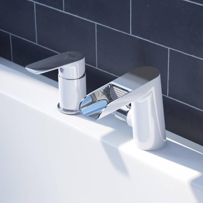Фото Смеситель на борт ванны на 3 отверстия с керамическим дивертором, каскадный излив, IDDIS Cloud CLOSB3Ki07 2