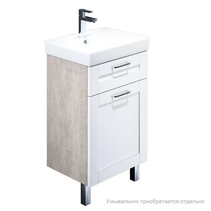 Фото Тумба для ванной комнаты, напольная, 50 см, подходит умывальник 0035000i28 IDDIS Sena SEN50W1i95, белая/под дерево 0