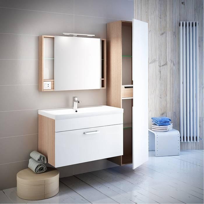 Фото Тумба с умывальником для ванной комнаты, подвесная, 80 см, IDDIS Mirro MIR80W0i95K, белая/под дерево 3