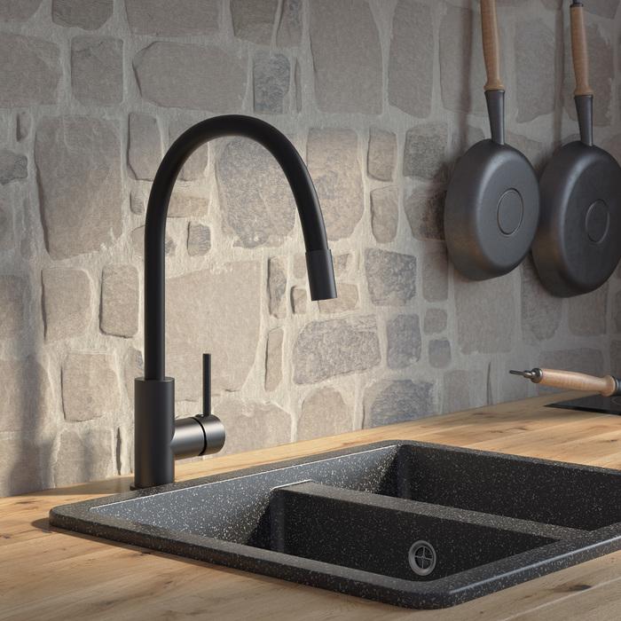 Фото Смеситель для кухни, черный матовый, Kitchen 360, IDDIS, K36BLJ0i05 1