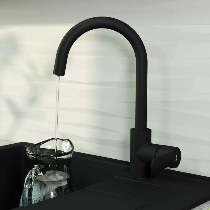 Фото Смеситель для кухни с каналом для фильтрованной воды, IDDIS Cuba CUBBLFJi05, черный 3