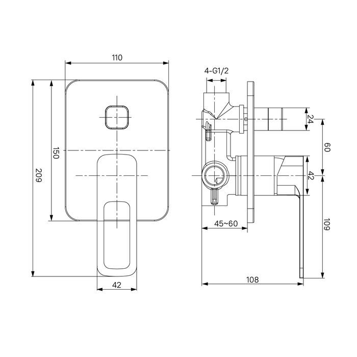 Фото Встраиваемый смеситель с двумя выходами, IDDIS Slide SLISB00i67 3