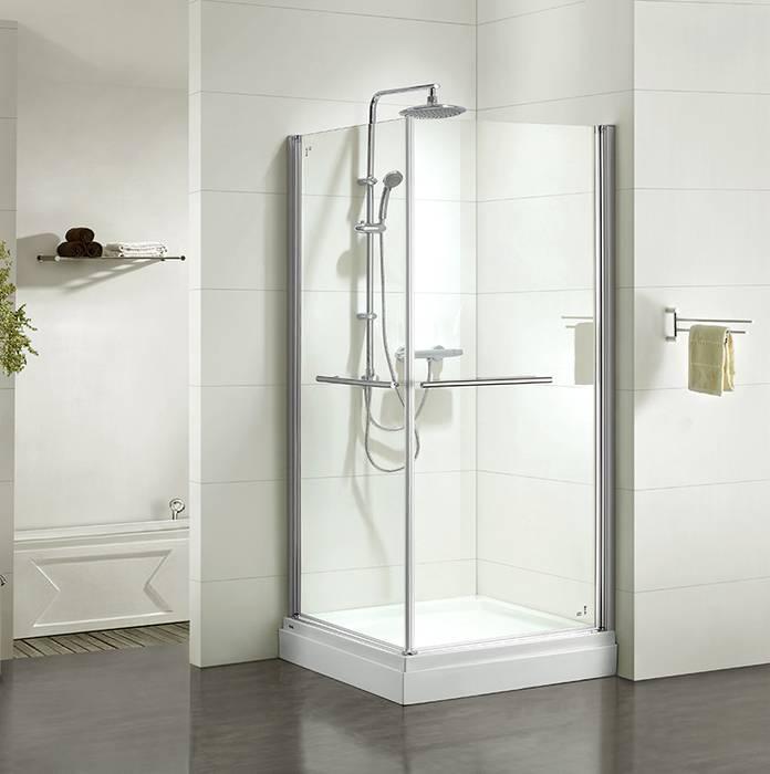 Фото Дверки душевые квадратные глянцевый стекло прозрачное, поддон низкий, 90x90x185 см, IDDIS Elansa E10S099i23, хром 0