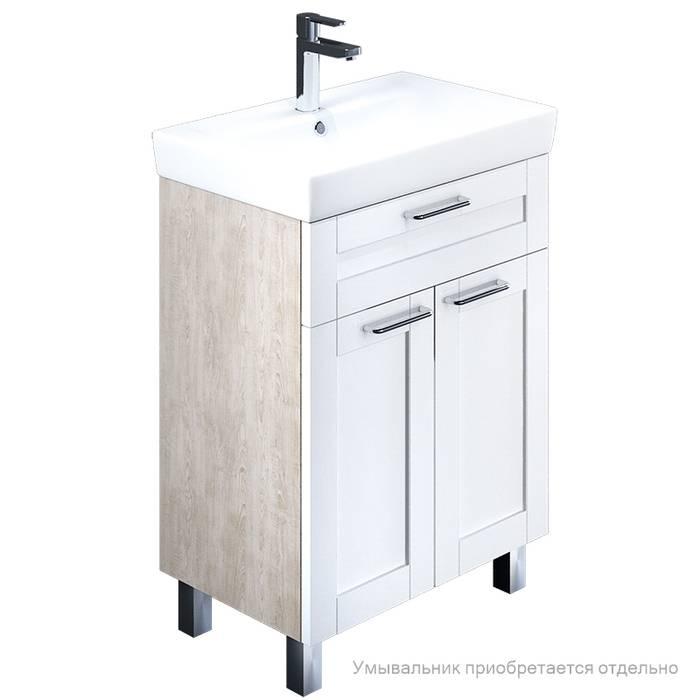 Фото Тумба для ванной комнаты, напольная, 60 см, подходит умывальник 0036000i28 IDDIS Sena SEN60W2i95, белая/под дерево 0