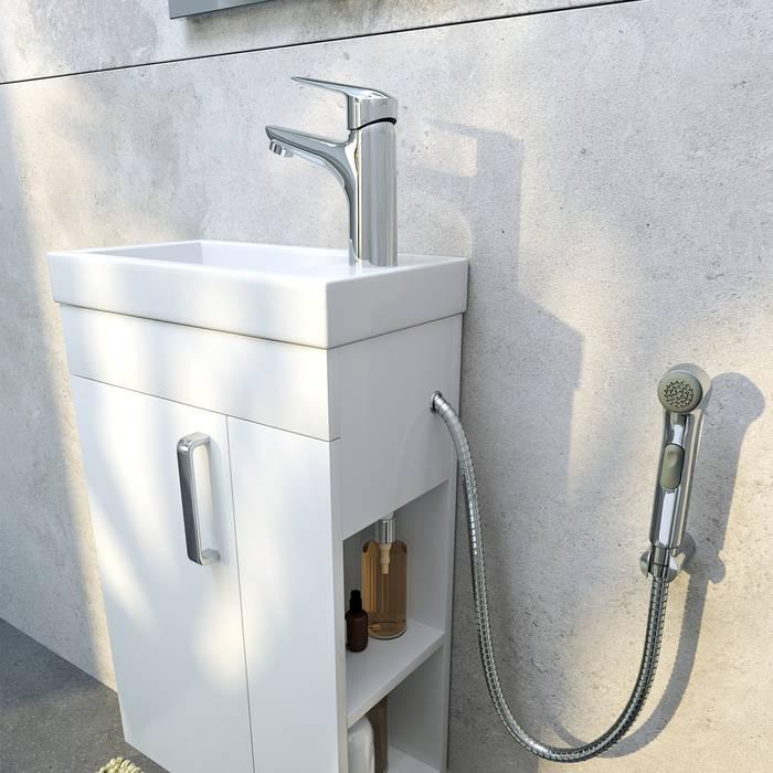 Фото Тумба с умывальником для ванной комнаты, подвесная, 40 см, IDDIS Torr TOR40W1i95K, белая 4