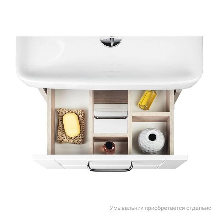 Фото Тумба для ванной комнаты, напольная, 50 см, подходит умывальник 0035000i28 IDDIS Sena SEN50W1i95, белая/под дерево 4