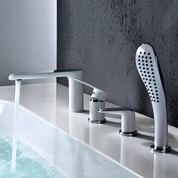 Фото Смеситель для ванны на 4 отверстия, IDDIS Calipso CALSB42i07, белый/хром 1