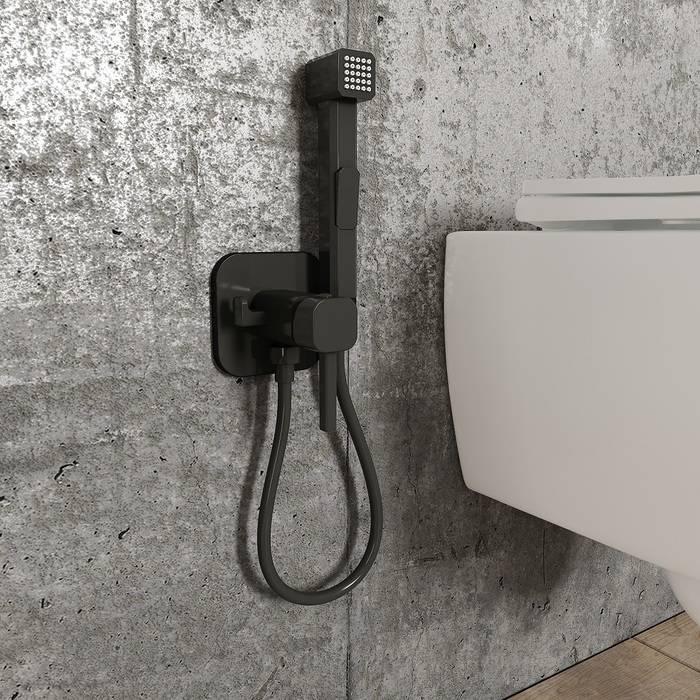 Фото Встраиваемый смеситель с гигиеническим душем IDDIS Spring 004BLS0i08, матовый черный 1