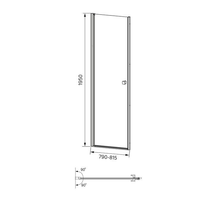 Фото Душевая дверь распашная, глянцевый алюминиевый профиль 80х195, IDDIS Ray RAY6CP8i69 5