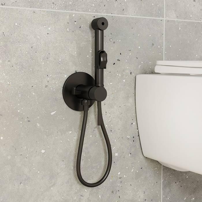 Фото Встраиваемый смеситель с гигиеническим душем, матовый IDDIS Spring 003BLR0i08, черный 1