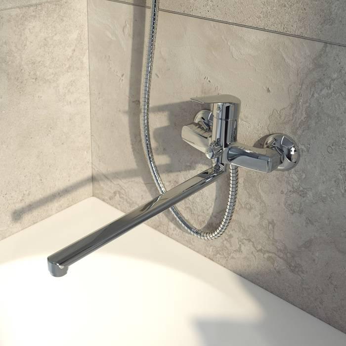 Фото Смеситель для ванны с длинным изливом с керамическим дивертором, IDDIS Torr TORSBL2i10WA 1