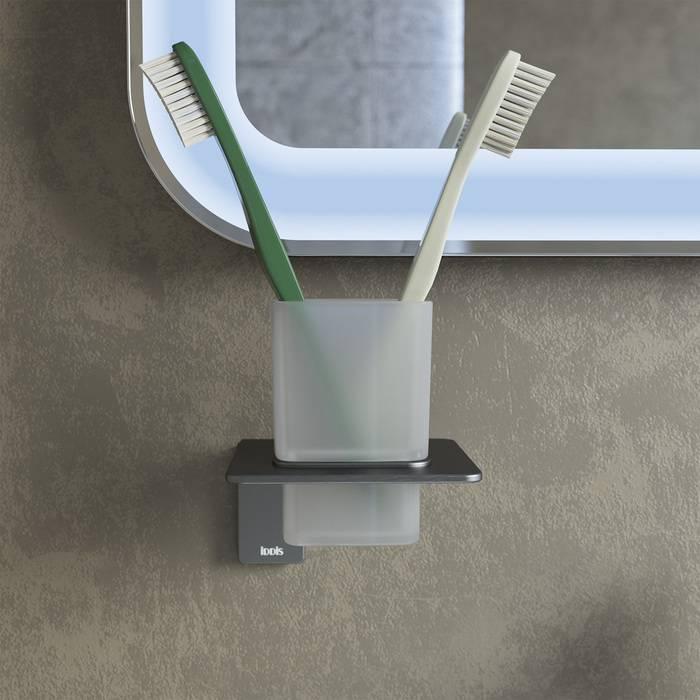 Фото Подстаканник одинарный матовое стекло, сплав металлов, IDDIS Slide SLIGMG1i45, графит 1