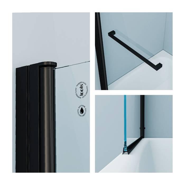 Фото Шторка на ванну, алюминиевый профиль 75х145, IDDIS Slide SLI5BS7i90, черный 1