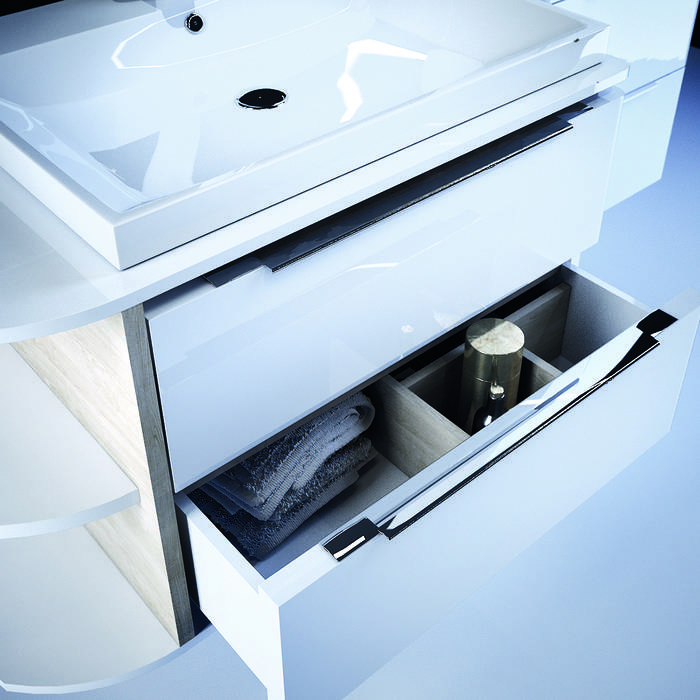 Фото Тумба для ванной комнаты, подвесная, 80 см, подходит умывальник 0066000i28 IDDIS Calipso CAL80W0i95, белая/под дерево 3