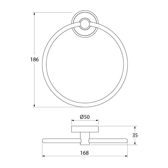 Фото Полотенцедержатель кольцо латунь IDDIS Calipso CALSBO0i51 2