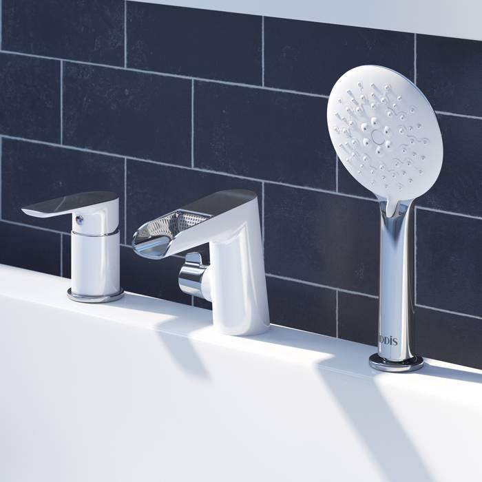 Фото Смеситель на борт ванны на 3 отверстия с керамическим дивертором, каскадный излив, IDDIS Cloud CLOSB3Ki07 1