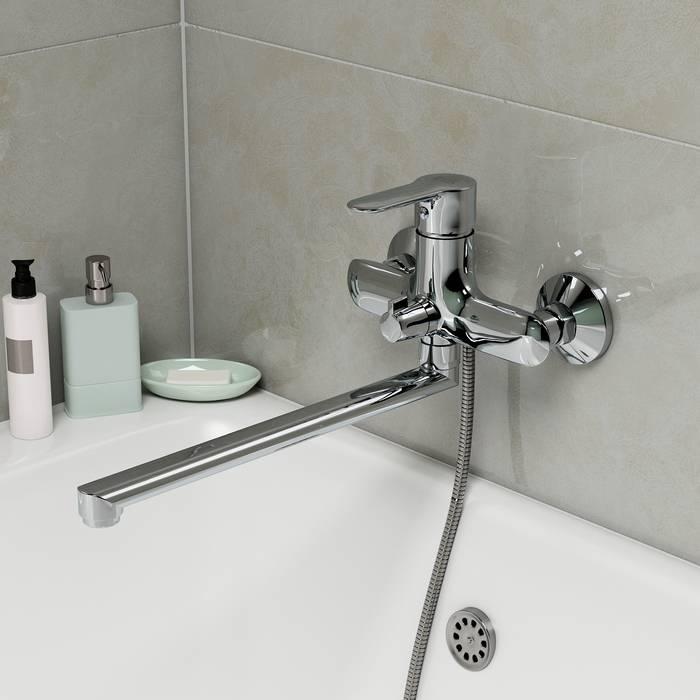 Фото Смеситель для ванны с длинным изливом с керамическим дивертором, IDDIS Cuba CUBSBL2i10WA 1