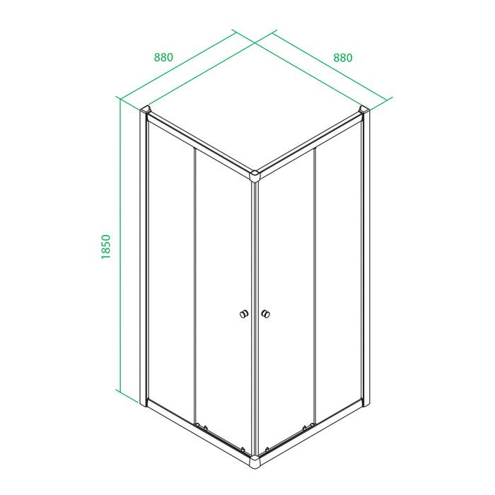 Фото Дверки душевые квадратные, шелк, шелк, стекло матовое, поддон низкий, 90x90x185 см, IDDIS Mirro M10S099i23 2