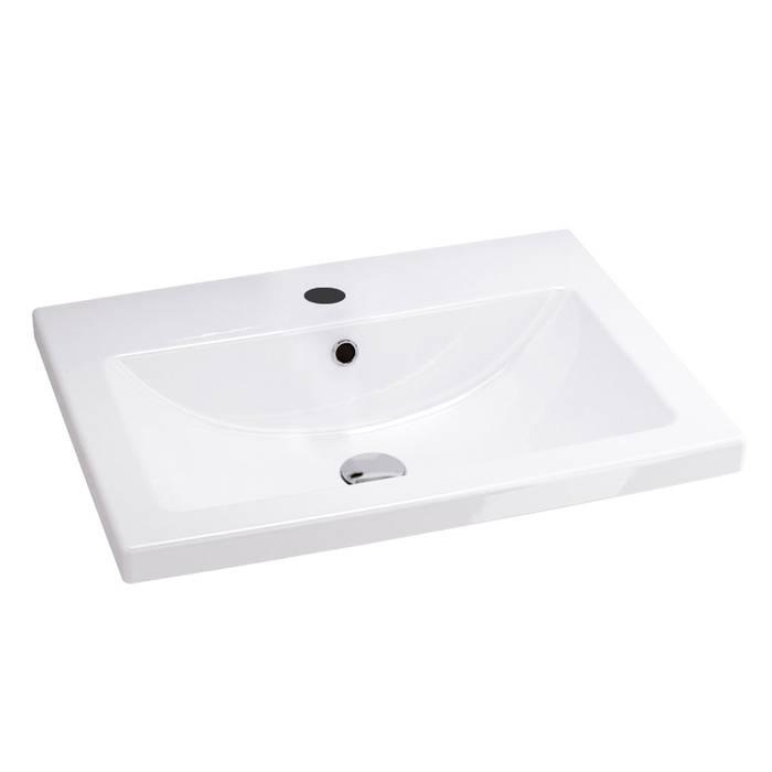 Фото Тумба с умывальником для ванной комнаты, подвесная, 60 см, IDDIS Mirro MIR60W0i95K, белая/под дерево 1