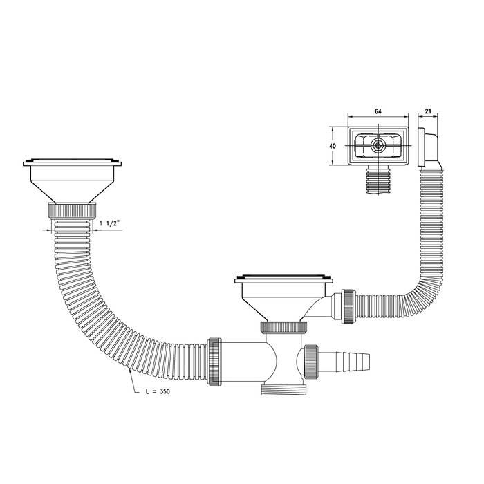Фото Выпуск 3 1/2 для двойной чаши с переливом и отводом, 21 IDDIS Sink Accessories 021UPS0i84 1