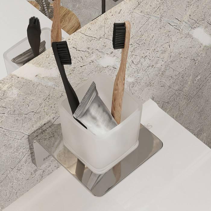 Фото Подстаканник одинарный матовое стекло, сплав металлов, IDDIS Slide SLISCG1i45, хром 2