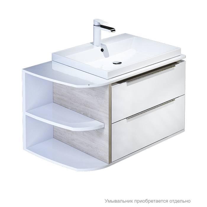 Фото Тумба для ванной комнаты, подвесная, 80 см, подходит умывальник 0066000i28 IDDIS Calipso CAL80W0i95, белая/под дерево 0