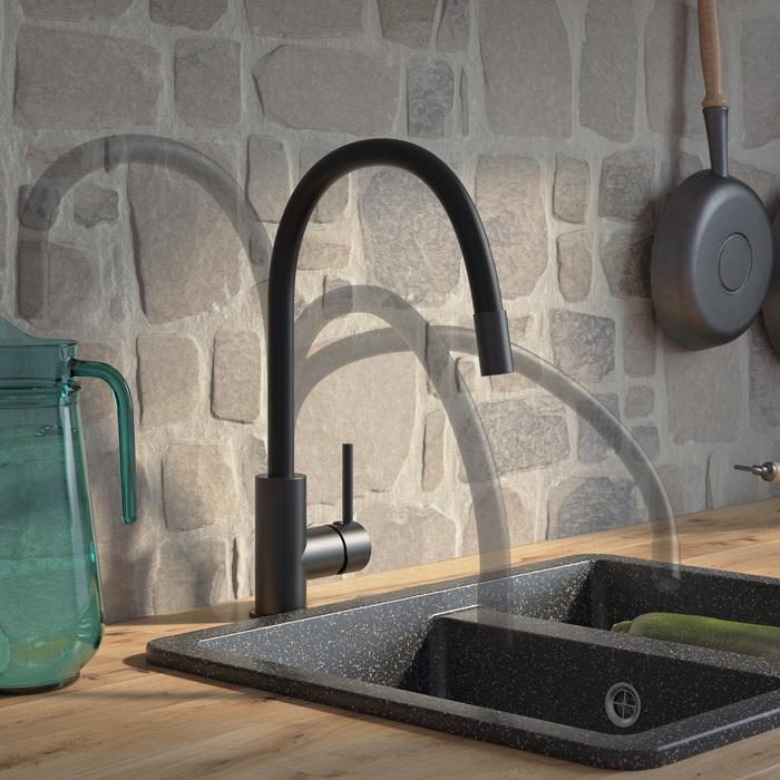 Фото Смеситель для кухни, черный матовый, Kitchen 360, IDDIS, K36BLJ0i05 2