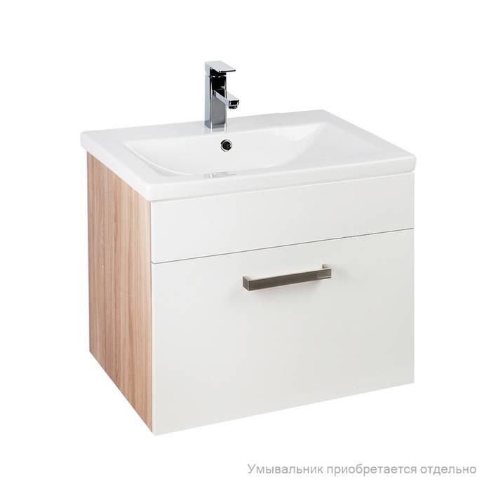 Фото Тумба для ванной комнаты, подвесная, 60 см, подходит умывальник 0016000U28 IDDIS Mirro MIR60W0i95, белая/под дерево 0
