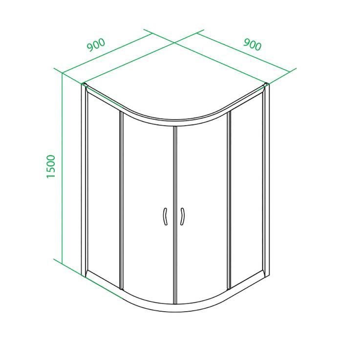 Фото Дверки душевые полукруглые под высокий поддон 1,5 IDDIS Glass TF90MH, матовый хром 4