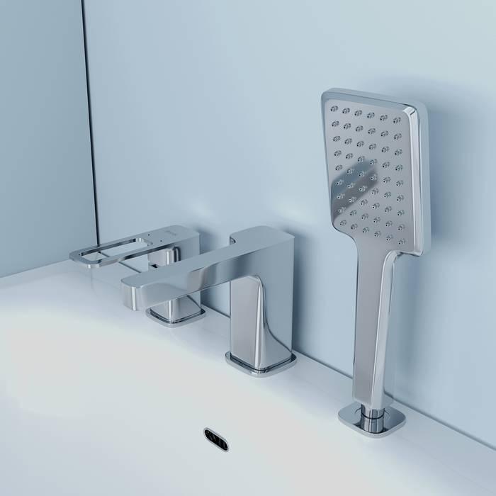 Фото Смеситель на борт ванны на 3 отверстия с керамическим дивертором, IDDIS Slide SLISB30i07, хром 4