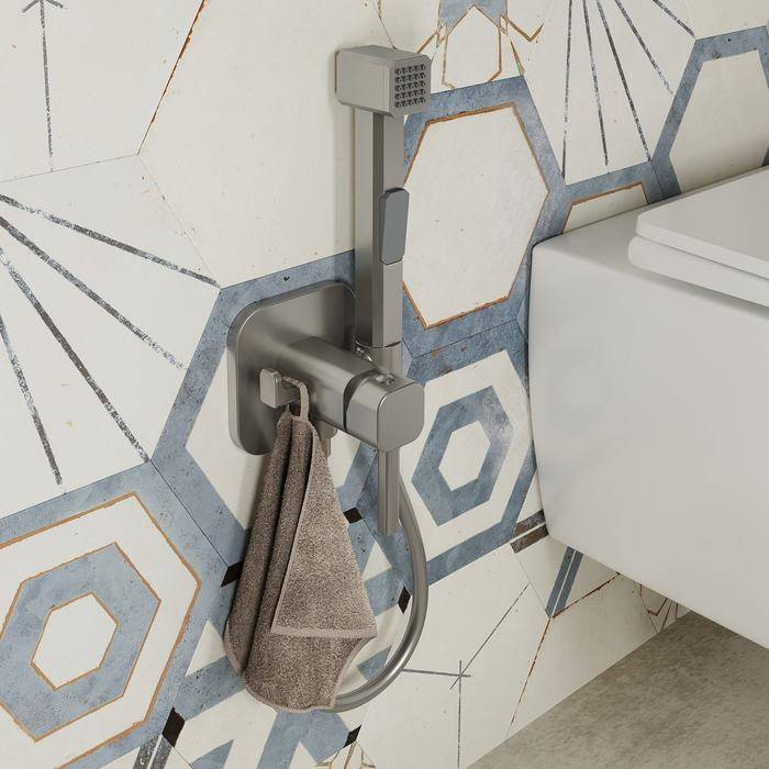 Фото Встраиваемый смеситель с гигиеническим душем, IDDIS Spring 004BNS0i08, сатин 1
