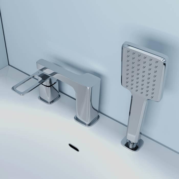 Фото Смеситель на борт ванны на 3 отверстия с керамическим дивертором, IDDIS Slide SLISB30i07, хром 3