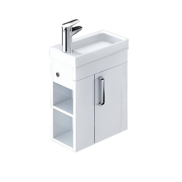 Фото Тумба с умывальником для ванной комнаты, подвесная, 40 см, IDDIS Torr TOR40W1i95K, белая 0