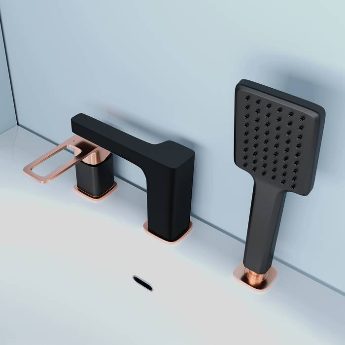 Фото Смеситель на борт ванны на 3 отверстия с керамическим дивертором, IDDIS Slide SLIBG30i07, черный 3