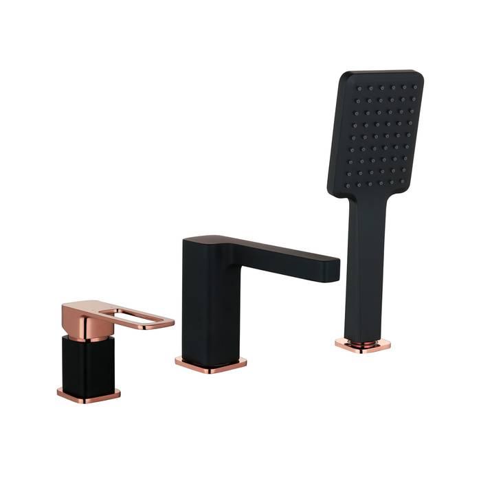 Фото Смеситель на борт ванны на 3 отверстия с керамическим дивертором, IDDIS Slide SLIBG30i07, черный 0