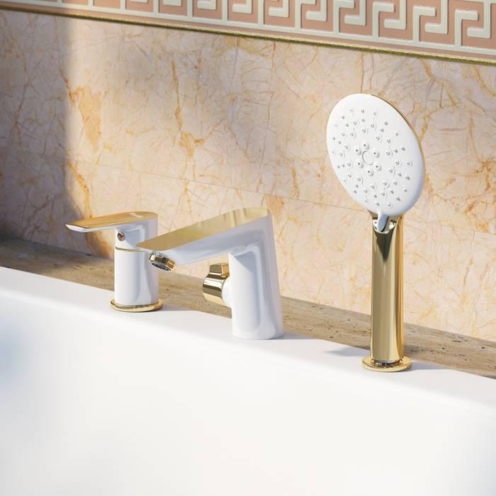 Фото Смеситель на борт ванны на 3 отверстия с керамическим дивертором, IDDIS Cloud CLOWG30i07 1
