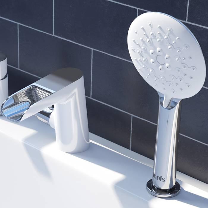 Фото Смеситель на борт ванны на 3 отверстия с керамическим дивертором, каскадный излив, IDDIS Cloud CLOSB3Ki07 3