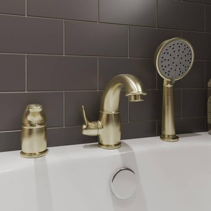 Фото Смеситель на борт ванны на 3 отверстия с керамическим дивертором, IDDIS Oldie OLDBR30i07, бронза 1