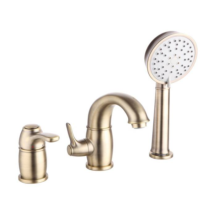 Фото Смеситель на борт ванны на 3 отверстия с керамическим дивертором, IDDIS Oldie OLDBR30i07, бронза 0