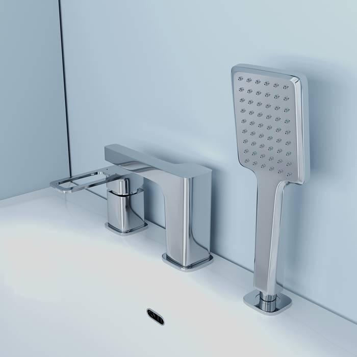 Фото Смеситель на борт ванны на 3 отверстия с керамическим дивертором, IDDIS Slide SLISB30i07, хром 5